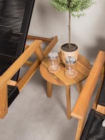Gartenliege Little John, Gestell: Akazienholz, Schwarz, Beige, 73 x 200 cm