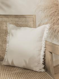 Leinen-Kissenhülle Luana in Hellbeige mit Fransen, 100% Leinen, Beige, 50 x 50 cm