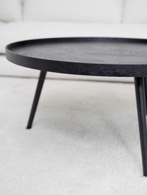 Runder Retro-Couchtisch Mesa aus Holz, Mitteldichte Holzfaserplatte (MDF) mit Kiefernholzfurnier, lackiert, Schwarz, Ø 78 cm