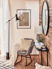 Fauteuil à bascule scandinave gris clair Emilia, Revêtement: gris clair Pieds: noir Arceaux: bois de hêtre