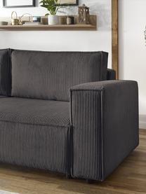 Sofa rozkładana ze sztruksu ze schowkiem Nihad (3-osobowa), Tapicerka: sztruks poliestrowy, Nogi: tworzywo sztuczne, Brązowy, S 245 x G 102 cm