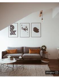 Samt-Sofa Moby (3-Sitzer) in Grau mit Metall-Füßen, Bezug: Samt (Hochwertiger Polyes, Gestell: Massives Kiefernholz, Füße: Metall, pulverbeschichtet, Samt Grau, B 220 x T 95 cm