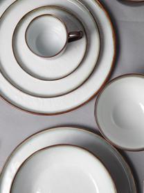 Talerz śniadaniowy z kamionki Plato, 6 szt., Kamionka, Brązowy, biały, Ø 22 cm