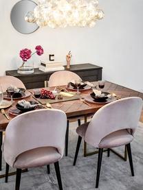 Krzesło tapicerowane z aksamitu Rachel, Tapicerka: aksamit (wysokiej jakości, Nogi: metal malowany proszkowo, Aksamitny mauve, S 53 x G 57 cm