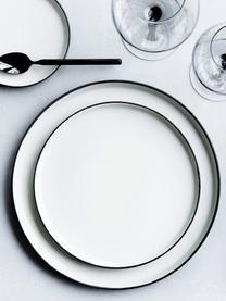 Handgemachter Speiseteller Esrum matt/glänzend, 4 Stück, Unten: Steingut, naturbelassen, Elfenbeinfarben, Graubraun, Ø 28 cm