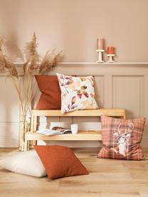 Federa arredo reversibile in velluto con stampa autunnale Eichel, Velluto di poliestere, Crema, tonalità rosse e marroni, Larg. 50 x Lung. 50 cm