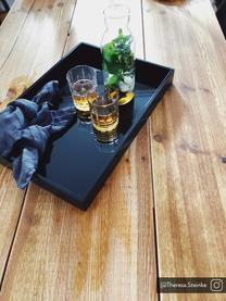 Plateau noir brillant Hayley, 35 x 50cm, Gris clair. Dessous: gris clair