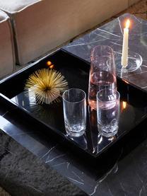 Dienblad Hayley in zwart, L 50 cm, B 35 cm, Dienblad: gelakt MDF, Onderzijde: fluweel, Zwart. Onderzijde: zwart, L 50 cm