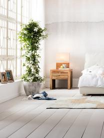 Lampada da tavolo in legno di acacia Rectangular, Paralume: cotone, Base della lampada: legno d'acacia, Legno di quercia, Larg. 33 x Alt. 43 cm