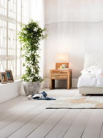 Tischlampe Rectangular aus Akazienholz, Lampenschirm: Baumwolle, Lampenfuß: Akazienholz, Braun, 33 x 43 cm