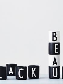 Design Becher Personal mit Buchstaben (Varianten von A bis Z), Fine Bone China (Porzellan) Fine Bone China ist ein Weichporzellan, das sich besonders durch seinen strahlenden, durchscheinenden Glanz auszeichnet., Schwarz matt, Weiß, Becher M