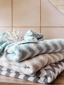 Handtuch-Set Liv mit Zickzack-Muster, 3-tlg., Taupe, Cremeweiß, Sondergrößen