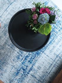 Design vloerkleed Griff in vintage stijl, Bovenzijde: 85% katoen, 15% hoogglanz, Weeftechniek: jacquard, Onderzijde: katoenmix, latex coating, Blauw, grijs, B 80 x L 150 cm (maat XS)