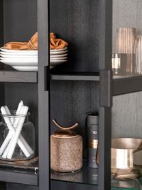 Schwarze Glasvitrine Everett mit Holzrahmen, Korpus: Eichenholz, massiv, lacki, Gestell: Metall, lackiert, Schwarz, 95 x 195 cm