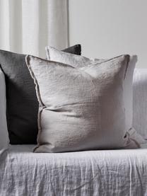 Poduszka z lnu z wypełnieniem Sunshine Fringe, Taupe, S 50 x D 50 cm