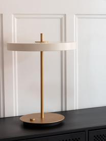 Dimmbare LED-Tischlampe Asteria, Lampenschirm: Aluminium, lackiert, Lampenfuß: Stahl, lackiert, Perlweiß, Goldfarben, Ø 31 x H 42 cm