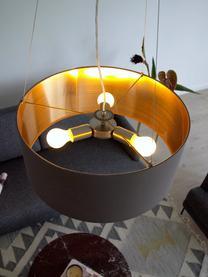 Hanglamp Jamie, Baldakijn: vernikkeld metaal, Fitting: vernikkeld metaal, Zilverkleurig, grijsbeige, Ø 53  x H 24 cm