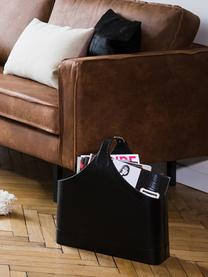 Zeitschriftenhalter Ready, Gestell: Karton, Bezug: Polyurethan, Verschluss: Metall, Zeitschriftenhalter: Schwarz<br>Verschluss: Metall, 40 x 45 cm