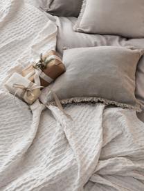 Federa arredo in lino beige con frange Luana, 100% lino, Beige, Larg. 60 x Lung. 60 cm