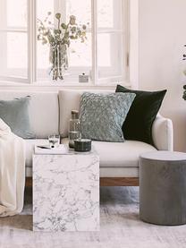 Fluwelen poef Daisy, Bekleding: fluweel (polyester), Frame: multiplex, Fluweel grijs, Ø 38 x H 45 cm