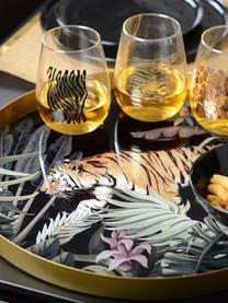 Plateau de service rond en métal Tiger, Ø 40cm, Couleur dorée, noir, vert, brun, blanc