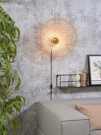 Wandleuchte Bromo mit Stecker, Lampenschirm: Bambus, Beige, Schwarz, Ø 40 x H 40 cm
