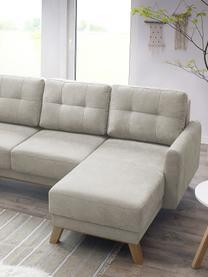 Sofa narożna XXL z aksamitu z funkcją spania i miejscem do przechowywania Balio, Tapicerka: 100% aksamit poliestrowy , Nogi: drewno naturalne, Odcienie kremowego, S 310 x G 192 cm