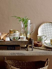 Ciotola con bordo dorato Moana, Terracotta, Bianco, verde, rosa, Ø 12 cm