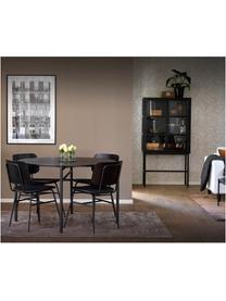 Houten stoel Brent, Zitvlak: kunstleer (polyurethaan), Frame: gelakt metaal, Mat zwart, B 47 x D 57 cm