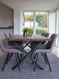 Stół do jadalni z blatem z litego drewna Montpellier, Blat: lite drewno dębowe, olejo, Stelaż: stal malowana proszkowo, Drewno dębowe, S 200 x G 95 cm