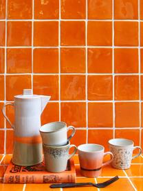 Handgemaakte XS mokken 70's in retro stijl, 4-delig, Keramiek, Multicolour, Ø 9 x H 8 cm
