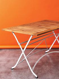 Gartentisch Parklife, klappbar, Tischplatte: Akazienholz, geölt,, Gestell: Metall, verzinkt, pulverb, Weiß, Akazienholz, 130 x 75 cm