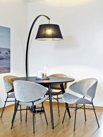 Tavolo rotondo in legno Yumi, Piano d'appoggio: pannello di fibra a media, Gambe: caucciù massello e vernic, Nero, Ø 115 cm