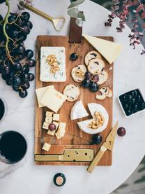 Käse-Schneidebrett King mit Käsemesser B 23 x L 37 cm, 3-tlg., Messer: Edelstahl, beschichtet, Servierplatte: AkazienholzAufhängeschlaufe: BraunMesser: Goldfarben, B 37 x T 23 cm