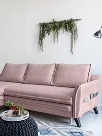 Sofa narożna z funkcją spania i miejscem do przechowywania Charming Charlie, Tapicerka: 100% poliester, w dotyku , Stelaż: drewno naturalne, płyta w, Brudny różowy, S 228 x G 150 cm