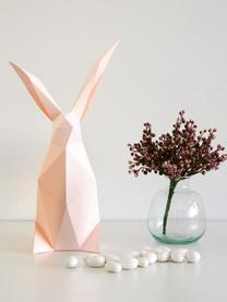 Tischleuchte Rabbit, Bausatz aus Papier, Lampenschirm: Papier, 160 g/m², Sockel: Holzfaserplatte und Kunst, Rosa, 18 x 34 cm