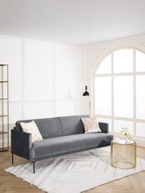 Sofa z aksamitu  z metalowymi nogami Fluente (3-osobowa), Tapicerka: aksamit (wysokiej jakości, Nogi: metal malowany proszkowo, Aksamitny ciemny szary, S 196 x G 85 cm