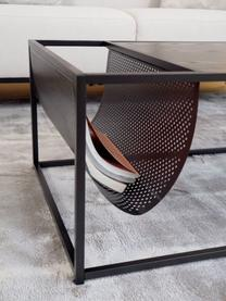 Stolik kawowy z uchwytem na czasopisma Seaford, Blat: płyta pilśniowa średniej , Stelaż: metal malowany proszkowo, Czarny, S 110 x W 40 cm