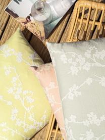 Kissenhülle Jasmin mit Blümchenmotiv, Vorderseite: 90% Baumwolle, 10% Polyes, Webart: Jacquard, Rückseite: 100% Polyestersamt, Gelb, Weiß, 40 x 40 cm