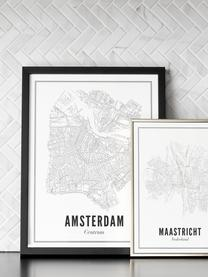 Gerahmter Digitaldruck Amsterdam, Bild: Digitaldruck auf Vergé-Pa, Rahmen: Holz, lackiert, Front: Plexiglas, Bild: Schwarz, WeißRahmen: Schwarz, matt, 40 x 50 cm