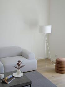 Driepoot vloerlamp Cella met stoffen kap, Lampenkap: katoenmix, Lampvoet: gepoedercoat metaal, Wit, Ø 48 x H 158 cm