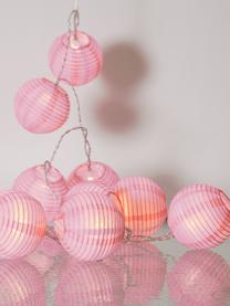 Guirnalda de luces LED Festival, 300cm, Linternas: papel, Cable: plástico, Rosa, L 300 cm