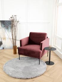 Fluwelen fauteuil Fluente in roodbruin met metalen poten, Bekleding: fluweel (hoogwaardig poly, Frame: massief grenenhout, Poten: gelakt metaal, Bordeauxrood, B 74 x D 85 cm