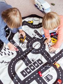 Spieldecke Roadmap, Polyester, Schwarz, Weiss, Ø 140 cm
