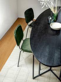 Owalny stół do jadalni z blatem z litego drewna Luca, Blat: lite drewno mangowe, szcz, Stelaż: metal malowany proszkowo, Blat: drewno mangowe lakierowane na czarno Stelaż: czarny, matowy, S 180 x G 100 cm
