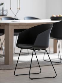 Armstoelen Bogart met stoelkussen, 2 stuks, Bekleding: polyester, Poten: gelakt metaal, Stoel: zwart. Zitkussen: donkergrijs. Poten: zwart, 51 x 81 cm