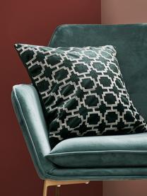 Bestickte Samt-Kissenhülle Simone, 100% Polyestersamt, Dunkelgrün, gebrochenes Weiß, 45 x 45 cm