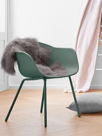 Kunststoff-Armlehnstuhl Claire mit Metallbeinen, Sitzschale: Kunststoff, Beine: Metall, pulverbeschichtet, Grün, B 54 x T 60 cm