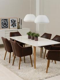 Krzesło z podłokietnikami ze sztucznej skóry Nora, Tapicerka: sztuczna skóra (poliureta, Nogi: drewno dębowe, Brązowy, drewno dębowe, S 56 x G 55 cm
