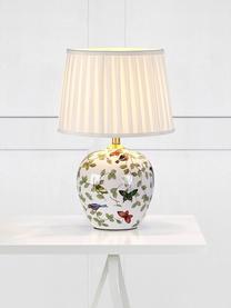 Keramische tafellamp Mansion, Lampenkap: textiel, Lampvoet: keramiek, Wit, multicolour, Ø 31 x H 45 cm